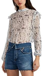 SIR The Label Women's Posey Sheer Floral Silk Chiffon Crop Blouse - White