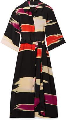 Diane von Furstenberg Printed Silk Crepe De Chine Midi Dress - Black