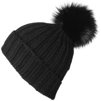 Black Cashmere and Fur Pom Pom Beanie