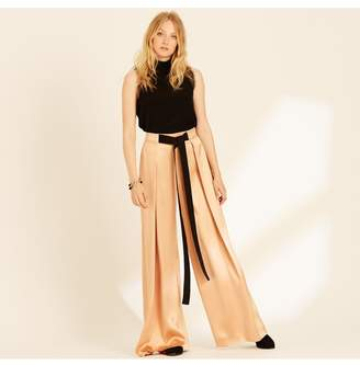 Amanda Wakeley Copper Pleated Wide Leg Trousers