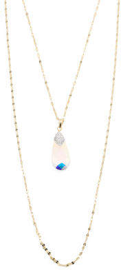 Sterling Silver Swarovski Crystal Drop Double Layer Necklace
