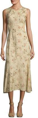 Ralph Lauren Melena Sleeveless Floral-Print Jacquard Silk Midi Dress
