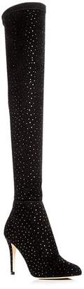 Jimmy Choo Women's Toni 90 Scattered Crystal Suede Over-the-Knee Boots
