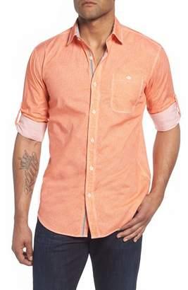 Bugatchi Shaped Fit Striated Print Sport Shirt