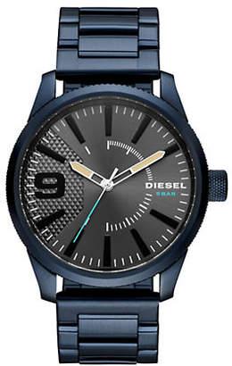 Diesel Mens Rasp NSBB Three-Hand Blue Stainless Steel Watch
