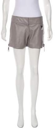 Thomas Wylde Mid-Rise Leather Shorts
