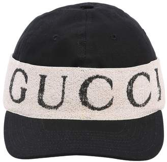 Gucci Logo Band Cotton Gabardine Baseball Hat