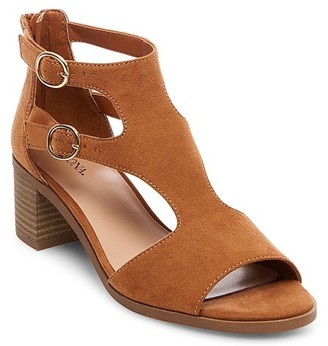 Merona Women's Blix Double Buckle Heeled Quarter Strap Sandals $27.99 thestylecure.com