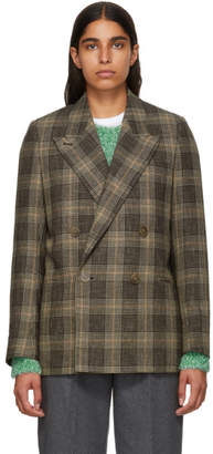 Acne Studios Brown and Beige Check Double-Breasted Blazer