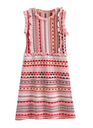 Goodnight Macaroon 'Mya' Aztec Pattern Ruffle Knitted Midi Dress