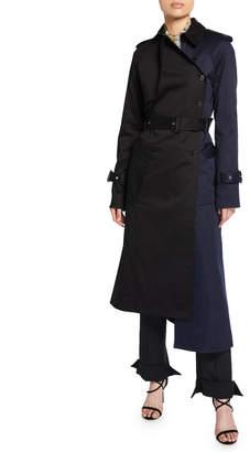 Rokh Colorblock Asymmetric Trench Coat