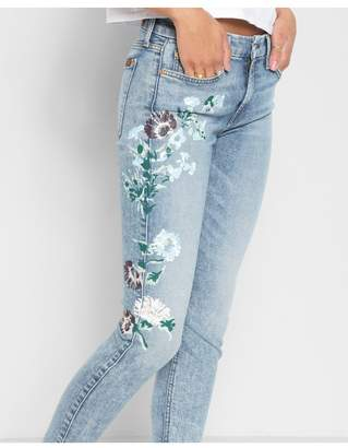 7 For All Mankind Ankle Skinny With Hand Painted Floral In Radiant Wythe