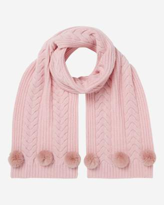 N.Peal Wide Cable Fur Pom Cashmere Scarf