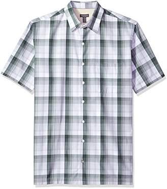 Van Heusen Men's Tall Size Textured Cotton Rayon Short Sleeve Shirt