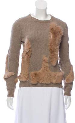 Opening Ceremony Fur-Accented Crew Neck Sweater