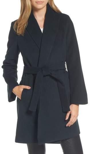 Gabrielle Wool Blend Long Wrap Coat