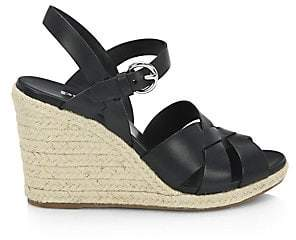 Prada Women's Leather Espadrille Wedge Sandals