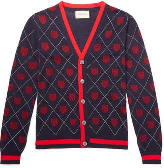 Gucci Slim-Fit Webbing-Trimmed Wool-Jacquard Cardigan - Men - Navy