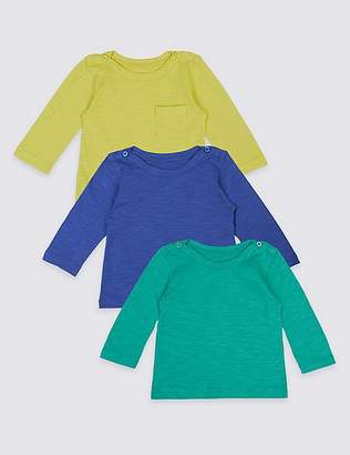 Marks and Spencer 3 Pack Pure Cotton Long Sleeve T-Shirts