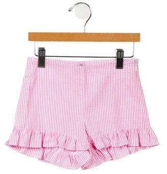 Il Gufo Girls' Striped Ruffle-Accented Shorts w/ Tags