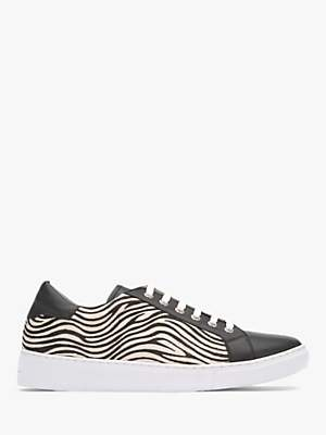 Mint Velvet Allie Zebra Print Trainers, Black