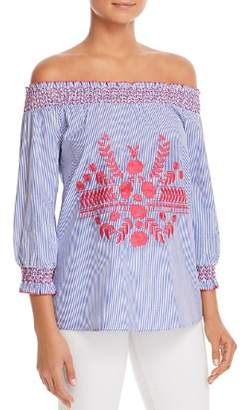 Design History Embroidered Pinstripe Off-The-Shoulder Top