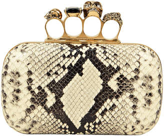 Alexander McQueen Python Embossed Four Ring Clutch
