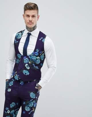 Asos Design Wedding Skinny Suit Waistcoat In Navy Floral Linen Look