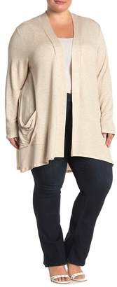 Bobeau Open Front Knit Cardigan (Plus Size)