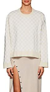 Paco Rabanne WOMEN'S CHECKED COMPACT-KNIT COTTON-BLEND SWEATER - WHITE SAND SIZE M/L