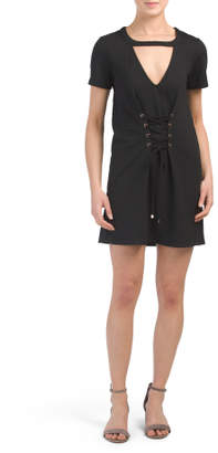 Juniors French Terry Corset Dress
