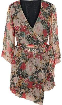 Love Sam Pop Garden Floral-Print Metallic Georgette Wrap Playsuit