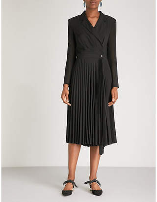 Sandro Blazer-style pleated crepe dress