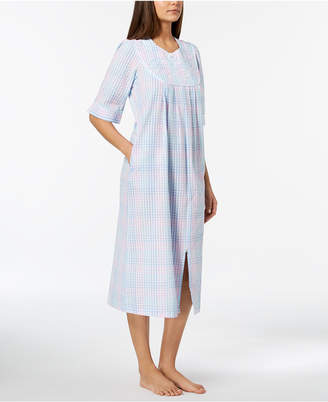 Miss Elaine Petite Embroidered Plaid Seersucker Zip Robe