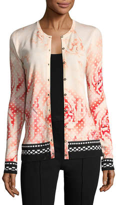 Roberto Cavalli Floral And Dot Print Cardigan