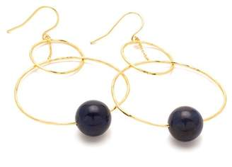 Gorjana 18K Gold Plated Sodalite Interlocking Bead Hoop Drop Earrings