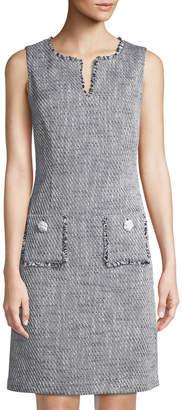 Karl Lagerfeld Paris Fringe-Trim V-Neck Sheath Dress