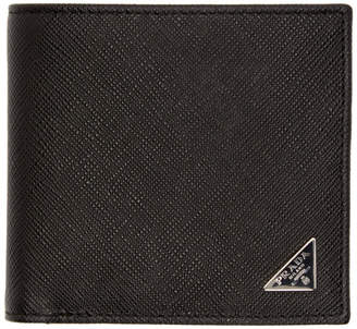 Prada Black Saffiano Triangle Wallet