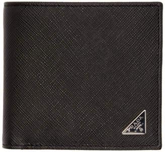 Prada Black Saffiano Triangle Wallet