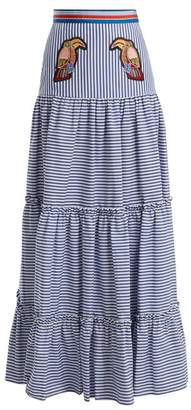 Stella Jean Tiered Striped Maxi Skirt - Womens - Navy Stripe