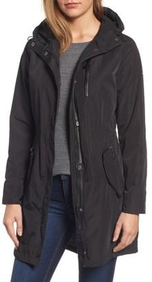 Petite Women's Michael Michael Kors Hooded Drawstring Long Coat $180 thestylecure.com