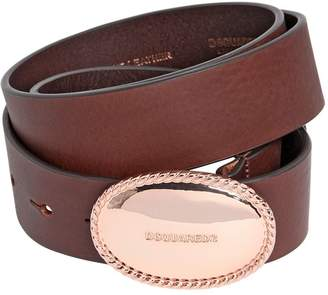 DSQUARED2 35mm Leather Belt W/ Logo Buckle