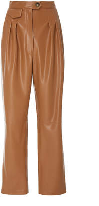 Nanushka Mitsu Pleat Front Cigarette Vegan Leather Pants