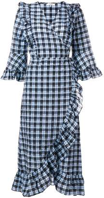 Ganni ruffled wrap front dress