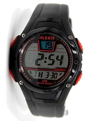 Alexis dw423bブラック時計ケース日付アラームバックライトWater Resistメンズレディースデジタル腕時計