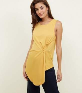 New Look Mustard Twist Side Asymmetric Vest