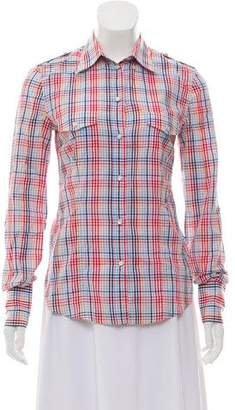 Dolce & Gabbana Long Sleeve Gingham Print Top