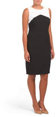 Stretch Crepe Color Block Dress