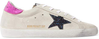 Golden Goose Superstar Leather-trimmed Glittered Distressed Suede Sneakers
