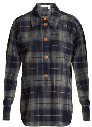 See by Chloé Checked Flannel Shirt - Womens - Navy Multi